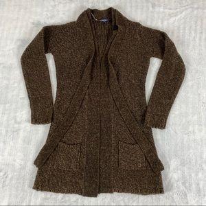 Reitmans Open Front Cardigan Sweater Sz Medium Brown Hip Length Pockets Neck Tie
